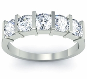 Bar Set 5 Stone Wedding Ring