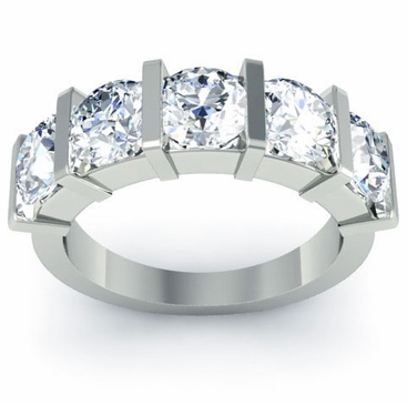 Bar Set Brilliant Round Cut Diamond Band - click to enlarge