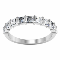 Bar Set Diamond Ring with Square Shaped Diamonds