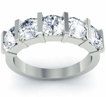 Bar Set 5 Stone Diamond Anniversary Ring - click to enlarge