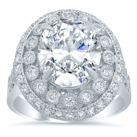 Bezel and Pave Halo Engagement Ring with Milgrain