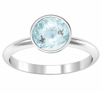 Bezel Set Aquamarine Solitaire Engagement Ring