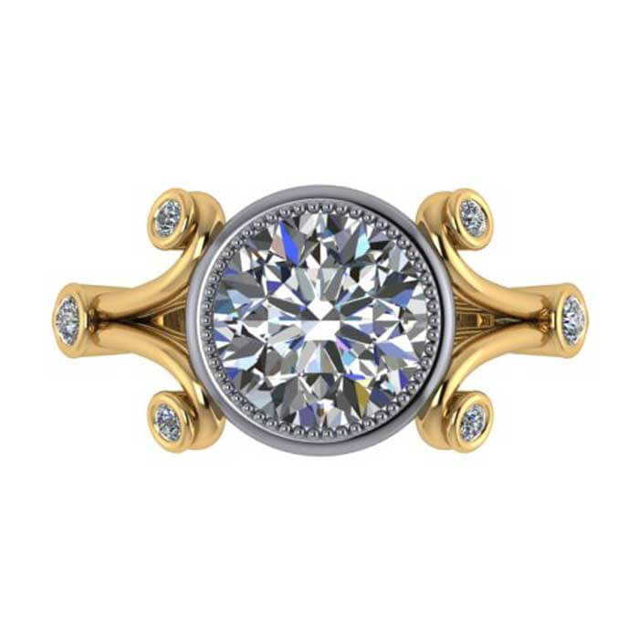 mount engagement halo center semi i ring accent gold cz accented dia new rings