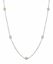 Bezel Set Peridot and Diamond Necklace