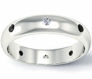 Black and White Diamond Domed Landmark Eternity Band
