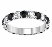 Black and White Diamond Eternity Band with U-Pave Setting