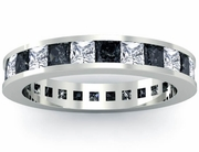 Princess Cut Black and White Diamond Eternity Wedding Ring