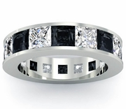 Black and White Diamond Gemstone Eternity Anniversary Ring