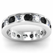 Black and White Diamond Round Gemstone Eternity Band in Channel Setting
