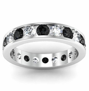 Black and White Diamond Round Gemstone Eternity Ring in Channel Setting