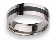 Black Carbon Fiber Inlay Titanium Ring High Polish Finish in 8mm