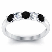 Black Diamond and White Diamond Five Stone Ring