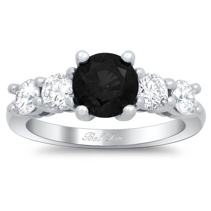 rings gold charm carat cz products plated black gemstone ring layered engagement rounds stone wedding