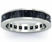 Black Diamond Gemstone Eternity Band
