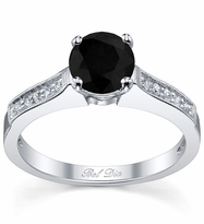 Black Diamond Pave Engagement Ring with Milgrain