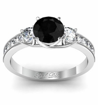 Black Diamond Three Stone Engagement Ring with Diamond Accents