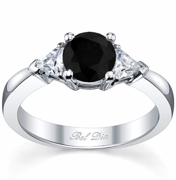 Black Diamond Three Stone Ring with Trillions - click to enlarge
