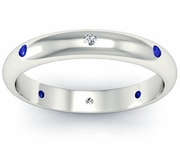 Blue Sapphire and Diamond Domed  Landmark Eternity Ring