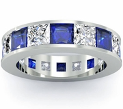 Blue Sapphire and Diamond Eternity Anniversary Band