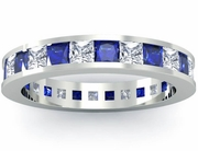 Blue Sapphire and Diamond Eternity Wedding Ring
