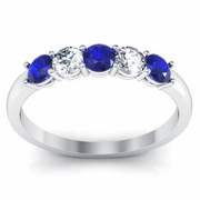 Blue Sapphire and Diamond Ring 0.50cttw