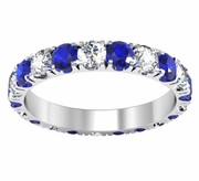 Blue Sapphire and Diamond U-Pave Eternity Ring