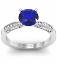 Blue Sapphire Engagement Ring with Tapered Milgrained Band