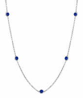 Gemstone Blue Sapphire Station Necklace