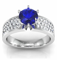 Blue Sapphire Pave Banded Engagement Ring