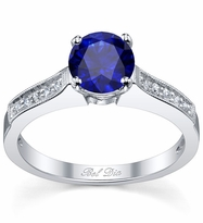 Blue Sapphire Pave Engagement Ring with Milgrain