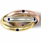 Blue Sapphire Rolling Ring in Three Colors