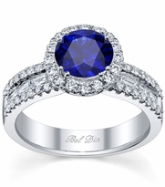 Blue Sapphire Round Halo Ring with Baguettes