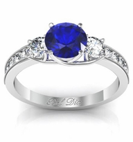 Blue Sapphire Three Stone Engagement Ring with Diamond Accents