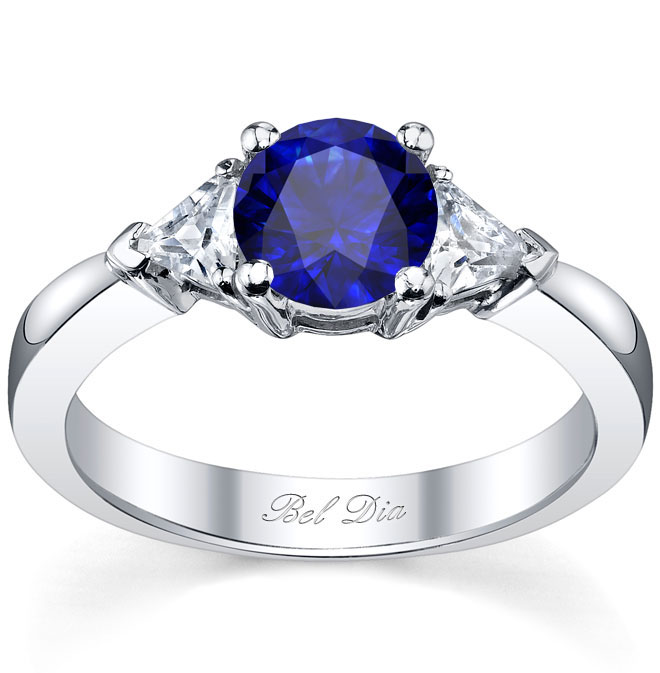sapphire rings blue sapphire three stone ring with trillions