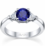Blue Sapphire Three Stone Ring with Trillions
