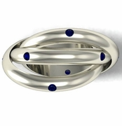 Blue Sapphire Trilogy Ring in Gold or Platinum