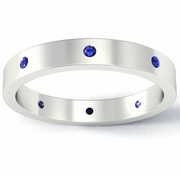 Blue Sapphire Flat Landmark Eternity Band
