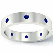 Blue Sapphire Flat Landmark Eternity Ring