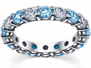 Blue Topaz and Diamond Wedding Band