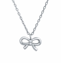 Bow Pendant with Pave Diamond Knot