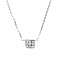 Box Pendant with Pave Diamonds
