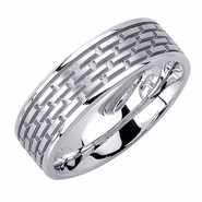 Brick Design Mens Wedding Ring in 14kt Gold