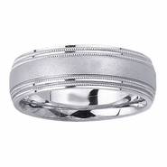 Brushed Mens Wedding Ring with Milgrain