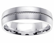 Brushed Platinum Band with Center Rope Design