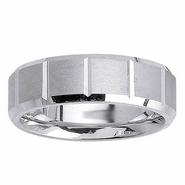 Brushed Wedding Ring with Beveled Edges and Grooves