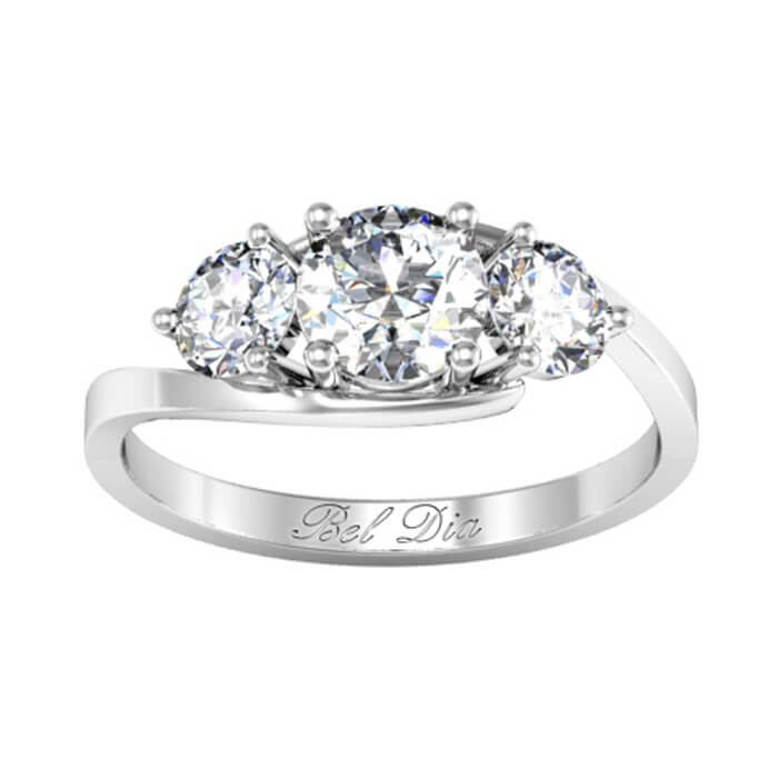 Bypass Style Three Stone Engagement Ring   Click To Enlarge