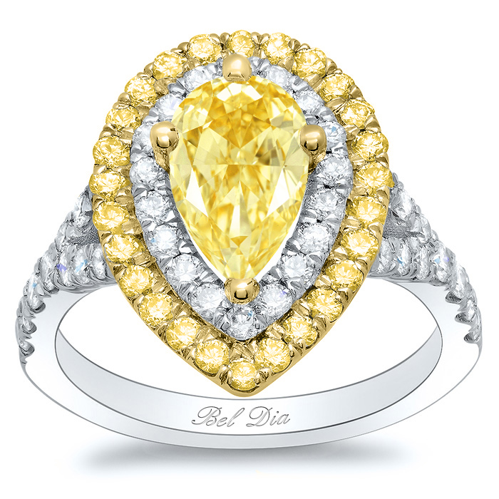 Canary Pear Double Halo Engagement Ring With Yellow Diamond Outer