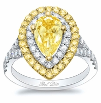 Canary Pear Double Halo Engagement Ring with Yellow Diamond Outer Halo