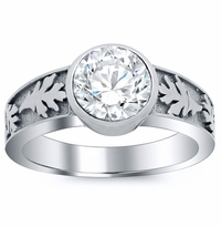 Carved Leaf Bezel Solitaire Engagement Ring