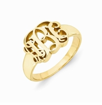 Carved Script Monogram Ring